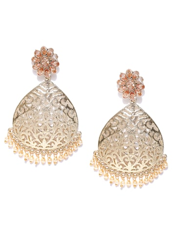Zaveri Pearls Gold-Toned Teardrop-Shaped Drop Earrings at myntra