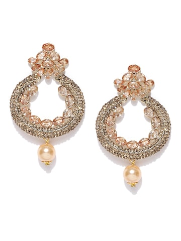 Zaveri Pearls Gold-Toned & Peach-Coloured Crescent-Shaped Drop Earrings at myntra