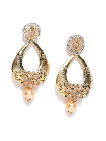 Zaveri Pearls Gold-Toned & Peach-Coloured Teardrop-Shaped Drop Earrings at myntra