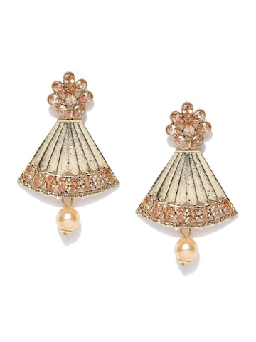 Zaveri Pearls Gold-Toned & Peach-Coloured Beaded Drop Earrings at myntra