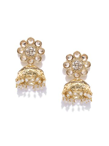 Zaveri Pearls Gold-Toned & Off-White Dome-Shaped Jhumkas at myntra