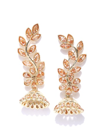 Zaveri Pearls Gold-Plated Stone-Studded Leaf-Shaped Jhumkas at myntra