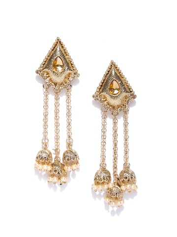Zaveri Pearls Antique Gold-Plated Stone-Studded Beaded Jhumkas at myntra