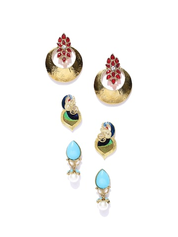 Zaveri Pearls Set of 3 Gold-Plated Earrings at myntra