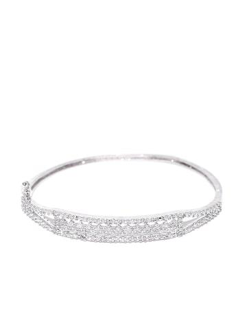 Zaveri Pearls Silver-Toned CZ Stone-Studded Bracelet at myntra