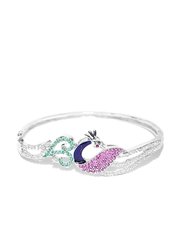Zaveri Pearls Pink & Silver-Toned CZ Stone-Studded Peacock-Shaped Bracelet at myntra