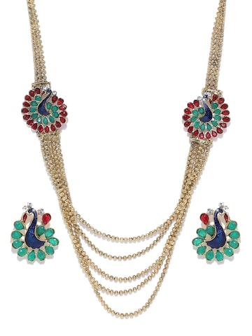 Zaveri Pearls Antique Gold-Toned Stone-Studded Beaded Jewellery Set at myntra