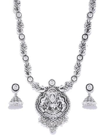 Zaveri Pearls Oxidised Silver-Toned Goddess Laxmi Jewellery Set at myntra