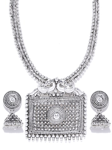 Zaveri Pearls Oxidised Silver-Toned Jewellery Set at myntra