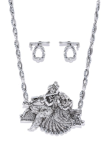 Zaveri Pearls Oxidised Silver-Toned Radha Krishna Beaded Jewellery Set at myntra