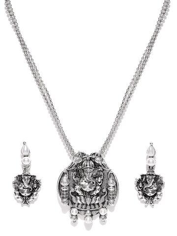Zaveri Pearls Oxidised Silver-Toned Lord Ganesha-Textured Jewellery Set at myntra
