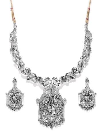 Zaveri Pearls Oxidised Silver-Toned Radha & Krishna-Textured Jewellery Set at myntra