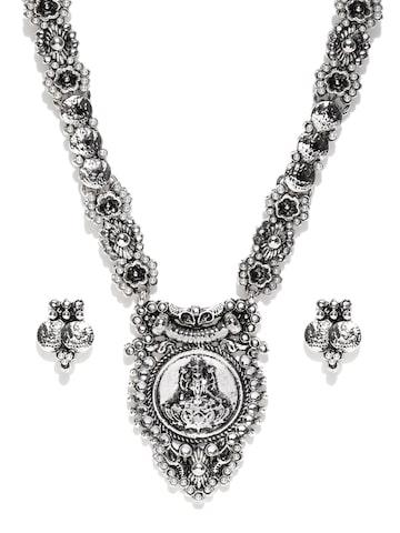 Zaveri Pearls Oxidised Silver-Toned Goddess Lakshmi-Textured Jewellery Set at myntra