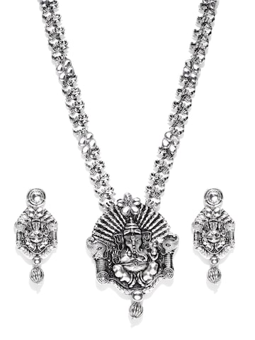 Zaveri Pearls Oxidised Silver-Toned Lord Ganesha Temple Jewellery Set at myntra