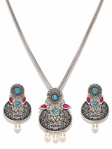 Zaveri Pearls Oxidised Silver-Toned Stone-Studded Jewellery Set at myntra