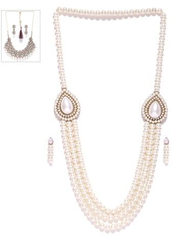 Zaveri Pearls Set of 2 Off-White & Gold-Toned Beaded Jewellery Sets at myntra