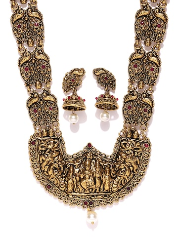 Zaveri Pearls Antique Gold-Toned Lord Shiva Stone-Studded Beaded Jewellery Set at myntra