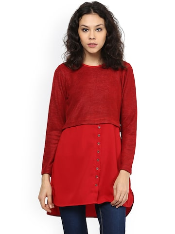 109F Red Layered Tunic at myntra