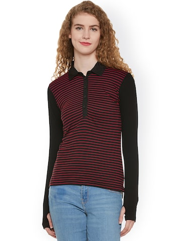 Hypernation Women Black & Red Striped Slim Polo Collar T-shirt with Thumb Insert at myntra