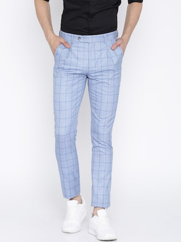 INVICTUS Men Blue Slim Fit Checked Smart Casual Trousers Trousers INVICTUS Trousers at myntra
