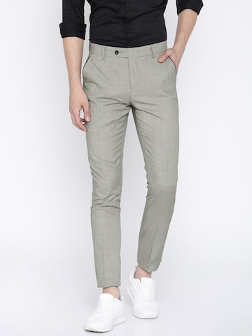 INVICTUS Men Grey Slim Fit Self Design Cigarette Trousers INVICTUS Trousers at myntra