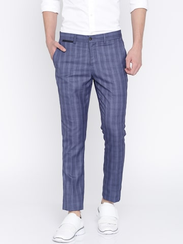 INVICTUS Men Blue Slim Fit Checked Smart Casual Trousers INVICTUS Trousers at myntra