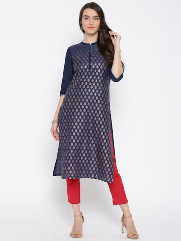 AURELIA Women Navy Blue Printed Straight Kurta at myntra