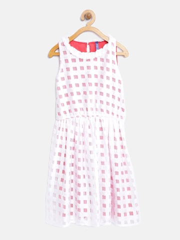Yellow Kite Girls Off-White Checked Patterned Fit and Flare Dress Yellow Kite Dresses at myntra