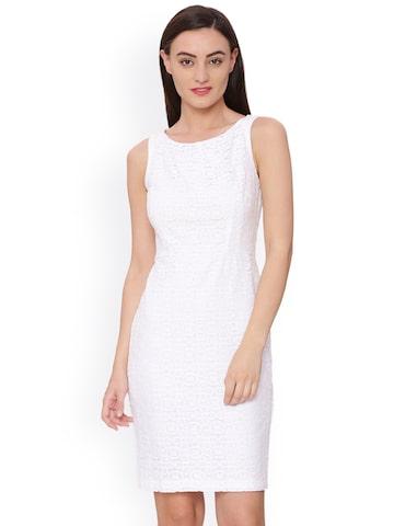 Avirate Women White Self Design A-Line Dress Avirate Dresses at myntra