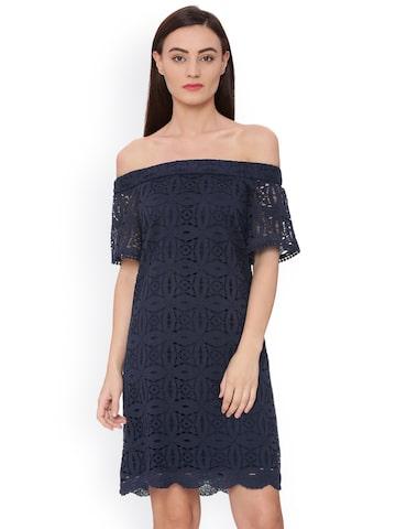 Avirate Women Navy Blue Self Design Bardot Sheath Dress Avirate Dresses at myntra