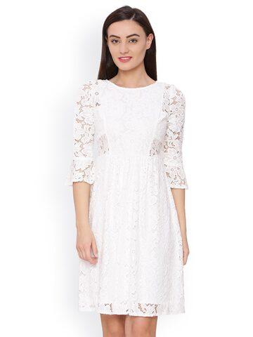 Avirate Women White Solid A-Line Dress Avirate Dresses at myntra