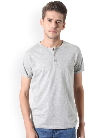 People Men Grey Solid Henley Neck T-shirt People Tshirts at myntra
