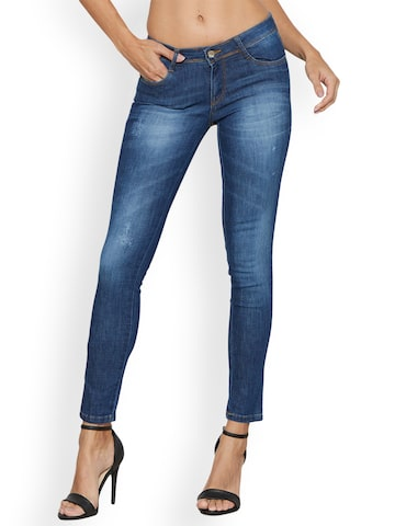 Kraus Jeans Women Blue Skinny Fit Mid-Rise Low Distress Jeans Kraus Jeans Jeans at myntra