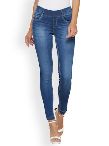 Kraus Jeans Light Blue Mid-Rise Skinny Fit Jeggings Kraus Jeans Jeggings at myntra