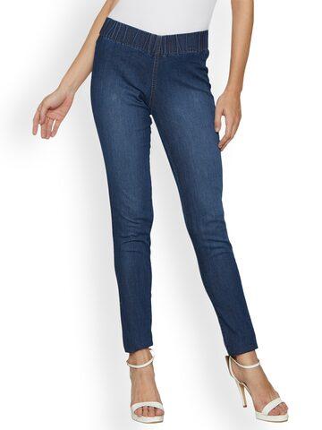 Kraus Jeans Blue Mid-Rise Skinny Fit Jeggings Kraus Jeans Jeggings at myntra