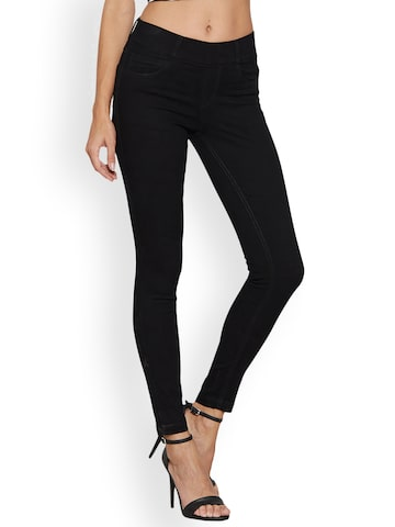 Kraus Jeans Black Mid-Rise Skinny Fit Jeggings Kraus Jeans Jeggings at myntra