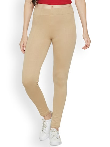 Kraus Jeans Beige High-Rise Skinny Fit Treggings Kraus Jeans Jeggings at myntra