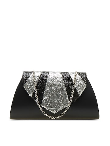 Tarusa Black Sequinned Solid Clutch at myntra