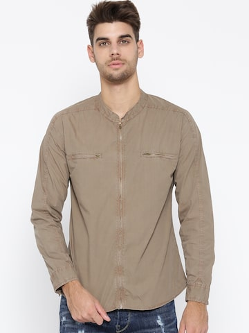 Roadster Men Brown Regular Fit Solid Casual Shirt Roadster Shirts at myntra