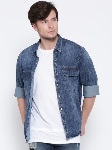 Roadster Men Blue Washed Denim Shirt Roadster Shirts at myntra