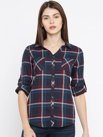 Roadster Women Navy Blue & Maroon Regular Fit Checked Casual Shirt Roadster Shirts at myntra