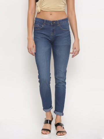 Jealous 21 Women Blue Hottie Ultra Slim Fit Mid-Rise Clean Look Stretchable Jeans at myntra