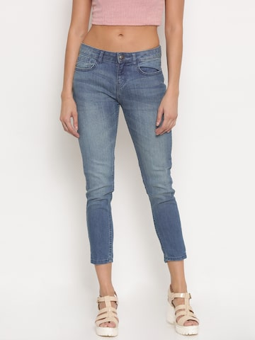 Jealous 21 Women Blue Hottie Fit Mid-Rise Stretchable Cropped Jeans at myntra