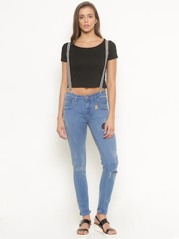 Jealous 21 Women Blue Ultra Slim Fit Mid-Rise Clean Look Stretchable Jeans at myntra