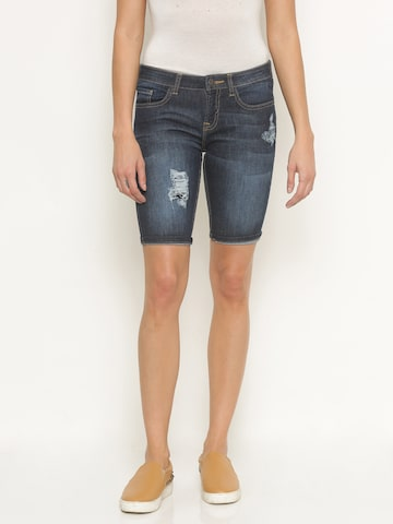 Jealous 21 Women Blue Washed Cropped Denim Shorts at myntra