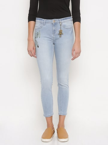 Jealous 21 Women Blue Hottie Slim Fit Mid-Rise Clean Look Stretchable Jeans at myntra