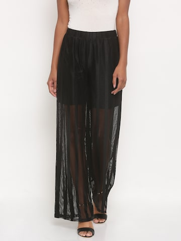 Jealous 21 Women Black Flared Self-Striped Parallel Trousers at myntra