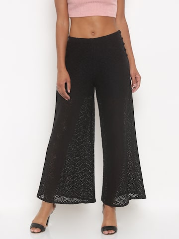 Jealous 21 Women Black Regular Fit Solid Lace Parallel Trousers at myntra