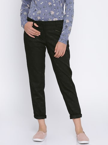 Jealous 21 Women Black Regular Fit Self Design Regular Trousers Jealous 21 Trousers at myntra