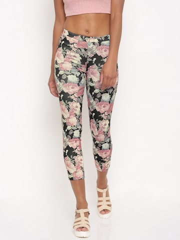 Jealous 21 Women Black & Pink Printed Jeggings at myntra